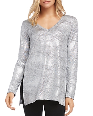Karen Kane Knits METALLIC KNIT V-NECK TOP