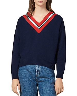 Sandro Sweaters Striped V-Neck Wool-Blend Sweater