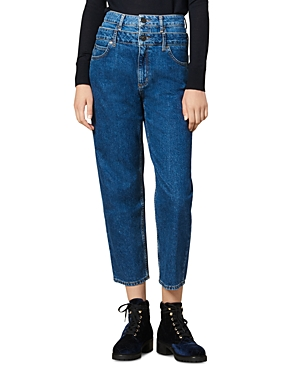 Sandro Jeans KITTY HIGH-RISE LAYER-EFFECT JEANS IN BLUE