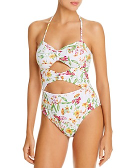 AQUA - Bandeau Cutout Knots & Ties One Piece Swimsuit - 100% Exclusive