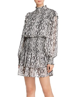 Endless Rose - Smocked Metallic Snake Print Dress