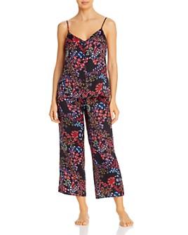 Josie - Floral-Print Satin Cropped Pajama Set