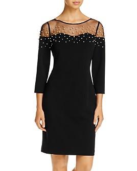 KARL LAGERFELD PARIS - Embellished Mesh-Trim Dress