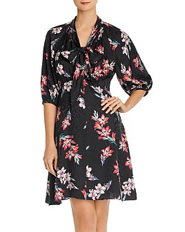 Rebecca Taylor - Noha Floral Tie-Neck Dress