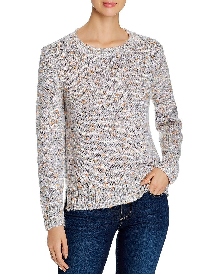 Alison Andrews Sequin Detail High/low Sweater In Pink/gray Multi
