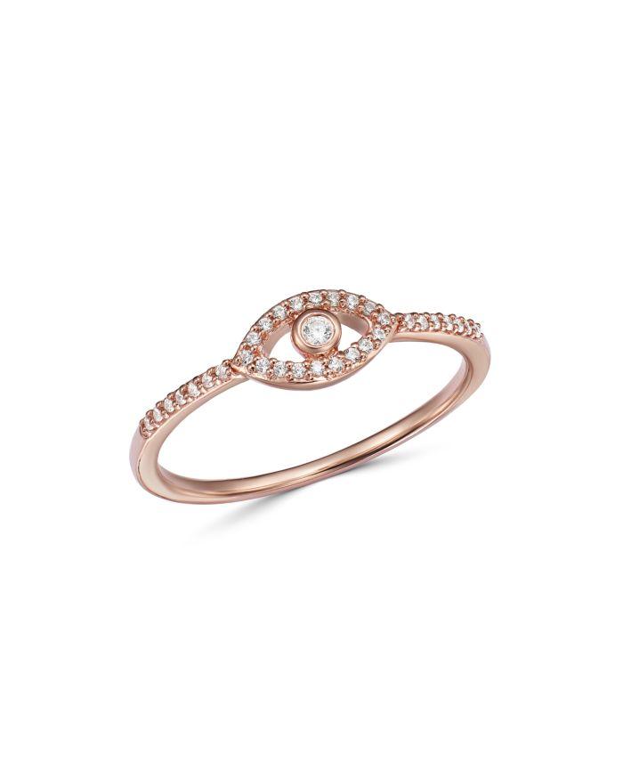 Bloomingdale's Diamond Evil Eye Ring in 14K Rose Gold, 0.10 ct. t.w. - 100% Exclusive    Bloomingdale's