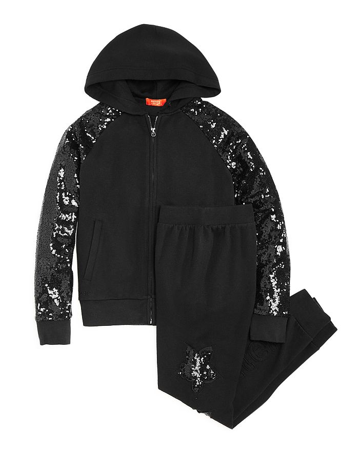 Butter - Girls' Sequin-Sleeve Hoodie & Sequin-Stars Jogger Pants - Little Kid, Big Kid