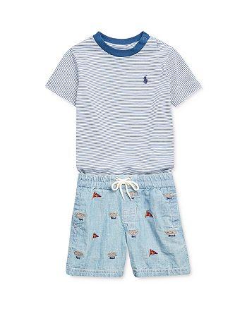 Ralph Lauren - Boys' Striped Tee & Chambray Shorts Set - Baby