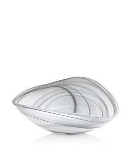 Mariposa - Black & White Alabaster Matte Decorative Bowl