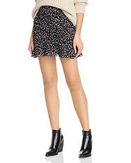 AQUA - Ruched Leopard Print Mini Skirt - 100% Exclusive