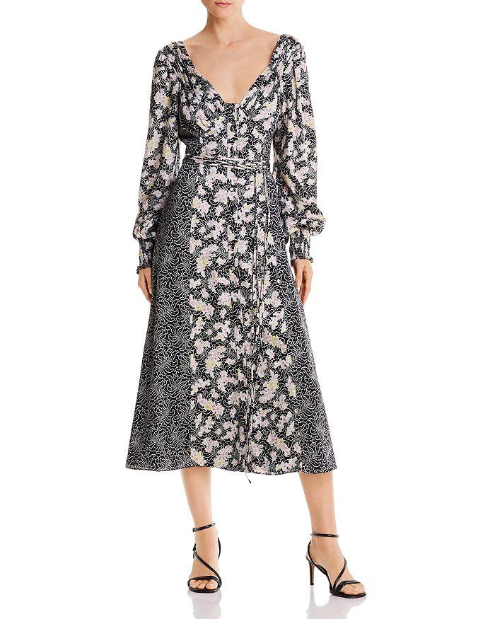 Cinq à Sept - Jessica Mixed-Print Button Front Midi Dress