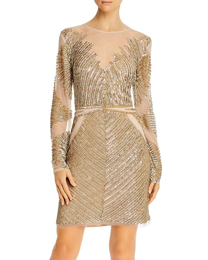 Aidan by Aidan Mattox - Embellished Long-Sleeve Dress - 100% Exclusive