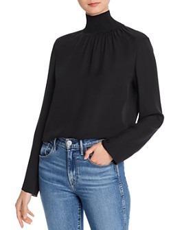 Theory - Ribbed Knit Detail Silk Turtleneck