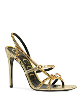 Gucci - Women's Leather Sandals with Crystals