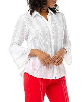 Liverpool Los Angeles - Tonal-Stripe Bell-Sleeve Shirt