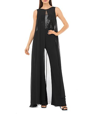 Carmen Marc Valvo Infusion - Sequined Cape-Overlay Jumpsuit