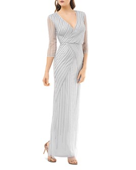 JS Collections - Beaded Faux-Wrap Dress