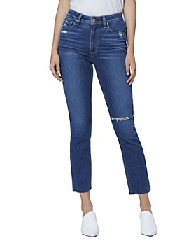 PAIGE - Hoxton Slim Raw-Hem Jeans in Slopes Destructed