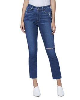 PAIGE - Hoxton Slim Raw-Hem Jeans in Slopes Destructed