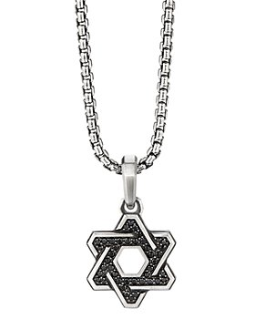 David Yurman - Sterling Silver Deco Star of David Pendant with Pavé Black Diamonds