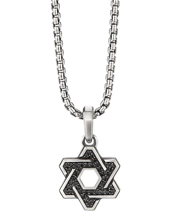 David Yurman - Sterling Silver Deco Star of David Pendant with Pavé Black Diamonds