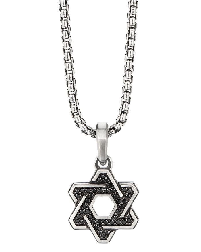 David Yurman Sterling Silver Deco Star of David Pendant with Pavé Black Diamonds     Bloomingdale's