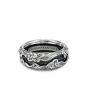 David Yurman - Sterling Silver Waves Band Ring with Forged Carbon