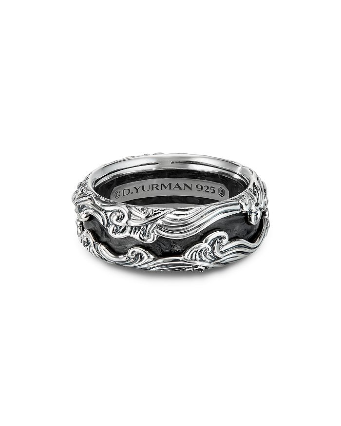 David Yurman Sterling Silver Waves Band Ring With Forged Carbon