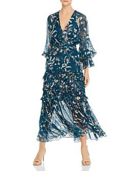 Amur - Floral-Silk Balloon-Sleeve Maxi Dress