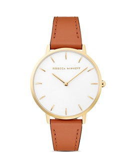 Rebecca Minkoff - Major Leather Strap Watch, 35mm