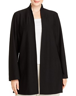 Eileen Fisher Plus - Long Stand-Collar Jacket