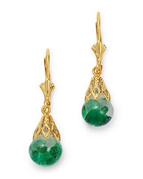 Bloomingdale's - Emerald Drop Earrings in 14K Yellow Gold - 100% Exclusive