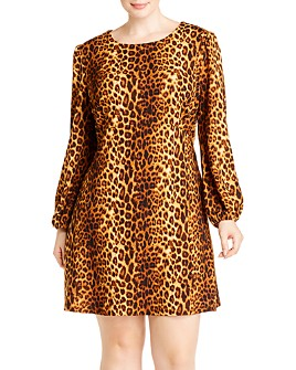 AQUA Curve - Leopard Puff-Sleeve Dress - 100% Exclusive