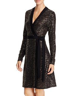 Leota - Kara Metallic Faux-Wrap Dress