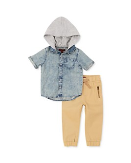 7 For All Mankind - Boys' Hooded Denim Shirt & Twill Pants Set - Baby