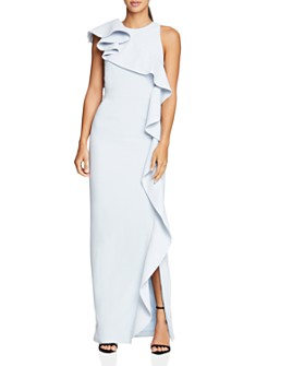 HALSTON - Flounced Crepe Gown