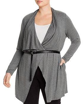 Marc New York Plus - Belted Drape-Front Cardigan