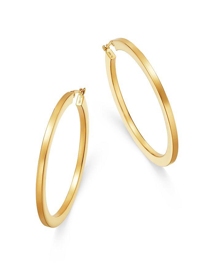 Moon & Meadow - Flattened Hoop Earrings in 14K Yellow Gold - 100% Exclusive