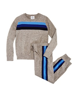 AQUA - Girls' Stripe-Front Sweater & Track Stripe Jogger Pants, Big Kid - 100% Exclusive