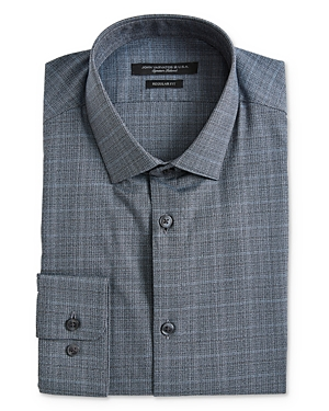 John Varvatos Star Usa Melange Plaid Regular Fit Dress Shirt