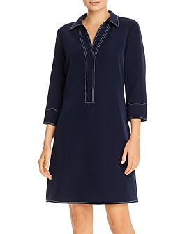 T Tahari - Contrast-Stitch Collared Shift Dress