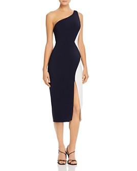Cushnie - Color-Blocked One-Shoulder Midi Dress