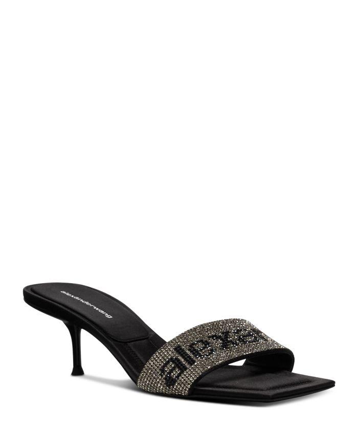 Alexander Wang Women's Jessie Crystal Logo Kitten Heel Sandals  | Bloomingdale's
