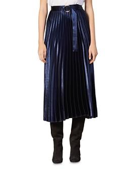 Sandro - Yoona Metallic Pleated Midi Skirt