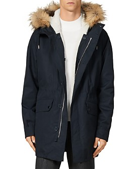 Sandro - Faux Fur-Trimmed Army Coat