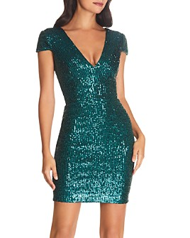 Dress the Population - Cody Sequined Cap-Sleeve Dress - 100% Exclusive