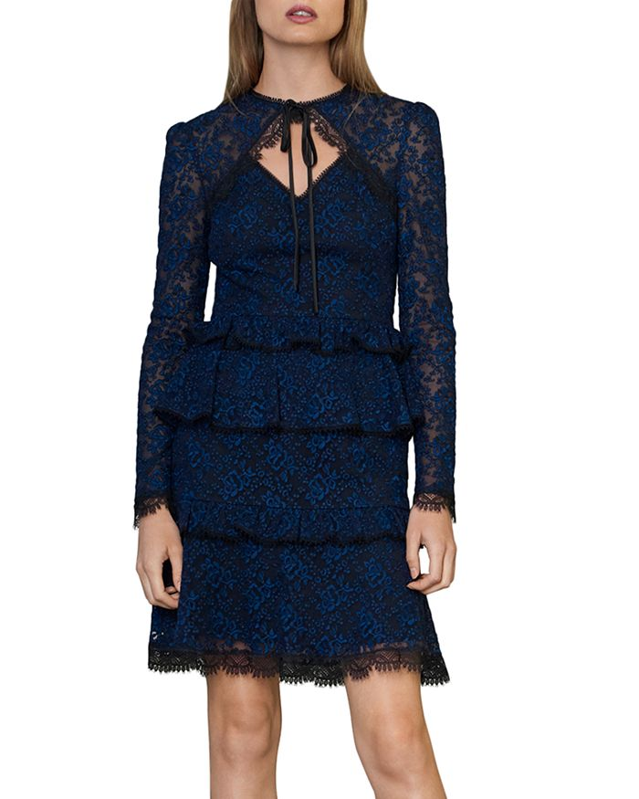 ML Monique Lhuillier - Floral-Embroidered Tiered Dress