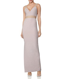 Hervé Léger - Sleeveless Side-Slit Metallic Gown