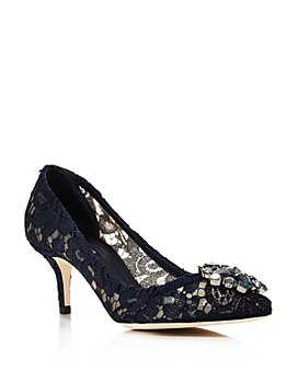 Dolce & Gabbana - Women's Lace Embroidered Kitten Heel Pumps
