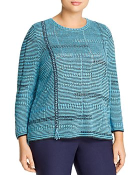 NIC and ZOE Plus - Open-Knit Fringed Sweater